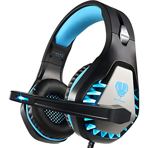 Butfulake GH1 Stereo Gaming Headset with mic & Splitter Cable for PUBG Over Ear Headphone Noise Isolation mic, Surround Sound, Compatible with PS4, Xbox one S/X, Switch, PC, Skype (Sky Blue)
