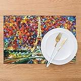 Set di 4 tovagliette all'americana, motivo: Torre Eiffel, lavabili e resistenti all'usura, per feste, cucina, sala da pranzo