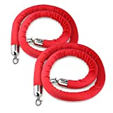 New Star Foodservice 54767 Red Velvet Stanchion Rope with Chrome Plated Hooks, 79.5-Inch, Set of 2