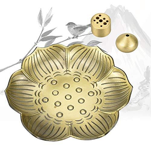 BUZIFU Räucherstäbchenhalter 3 in 1 Räucherstäbchen Halter Lotus Ash Catcher Räuchergefäß Platte Räucherschale Halter Räuchergefäßteller Weihrauchbehälter Set für Schlafzimmer Tempel Bronze