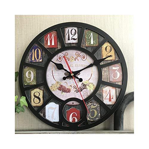 XMBT Vintage Redondo hogar Moderno Dormitorio Sala de Estar Cocina Tiempo Retro Reloj de Pared Cuarzo,Reloj de Cocina silencioso Movimiento analógico de Cuarzo con Pilas Reloj de Pared