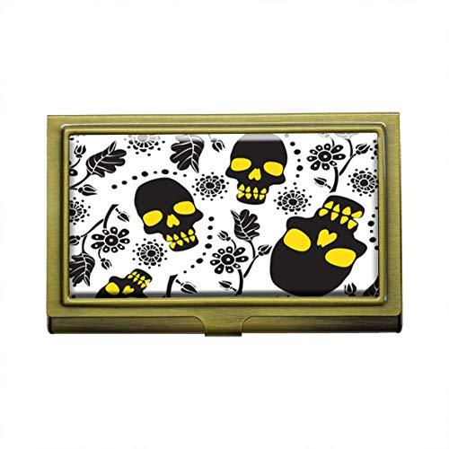Flores y calaveras Tarjeteros de negocios Metal Bronce Acero Inoxidable Tarjeta de negocios Nombre ID titular de la tarjeta Organizador