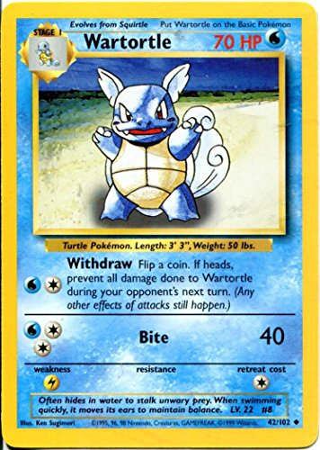 Pokemon Base Set Uncommon Card #42/102 Wartortle