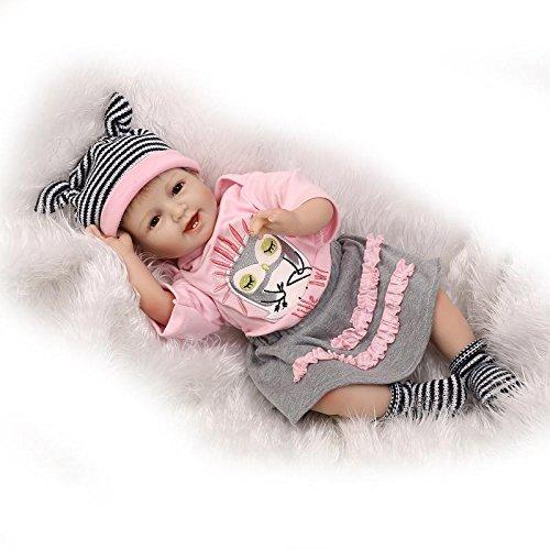 Nicery Reborn Baby Doll Renacer Bebé la Muñeca Vinilo Simulación Silicona Suave 22 Pulgadas 55cm Boca Natural Niña Niño Juguete vívido Smill Princess Owl