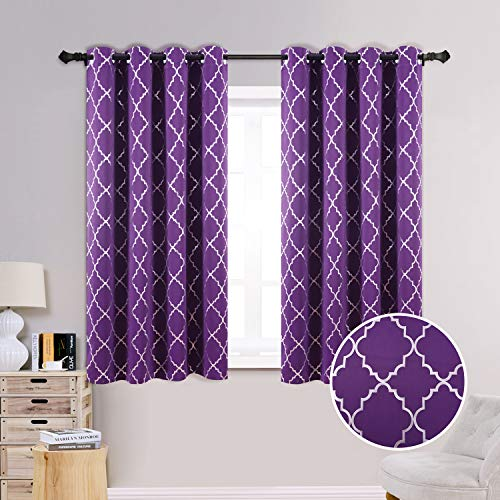 Anjee Blackout Curtains with Foil Printed Rhombus Pattern for Living Room, 63 Inches Long Window Curtains with Grommet Top, 52 x 63 Inch, Purple
