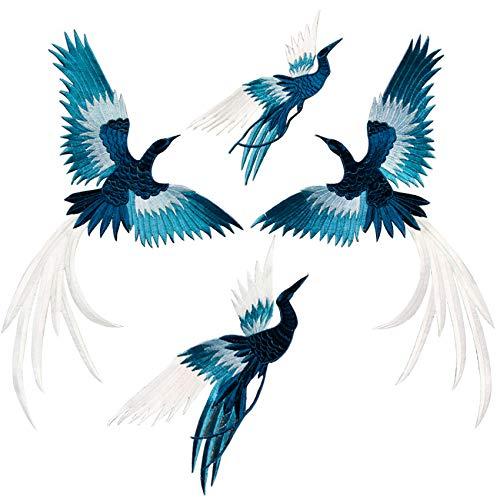 SuperiorParts Patches zum Aufbügeln Phönix 4 Stück Buegelbilder Bestickte Patches Sticker Gestickte Aufnäher Applikation für DIY Kleidung Jeans T-Shirt Jacken Rucksäcke (Blau)