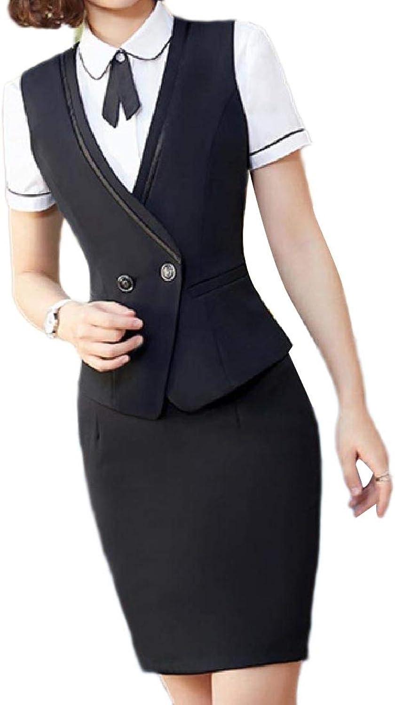 Abetteric Womens Button Short Sleeves Bodycon TrimFit Shirts Vest Skirt Suit