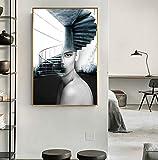 Lunderliny Carteles E Impresiones Artísticos De Pintura De Lienzo De Escalera De Mujer De Moda Abstracta para Decoración Moderna De Salón De Sala De Estar 40x60cm