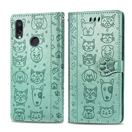 Miagon PU Cuir Portefeuille Coque pour Xiaomi Redmi Note 7,Chat Chien Animal Gaufrage Flip Cover Étui à Rabat Magnétique Case Style Livre Protection Housse avec Support,Vert
