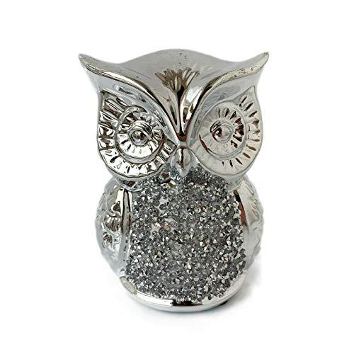Darthome Ltd Silver Sparkle Diamante Owl Bird Decorative Figurine Ornament Statue Gift Large 13cm