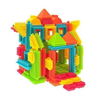 PicassoTiles PTB120 120pcs Bristle Shape 3D Building Blocks Tiles Construction Toy Set Learning Playset STEM Toy Set Educational Kit Child Branin Development Preschool Kindergarten Toy
