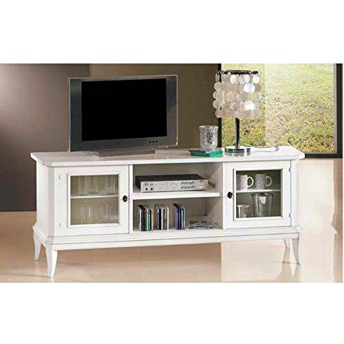 Bagno Italia Mobile arredo 164x46x64h Bianco Opaco Porta televisore TV Legno massello Basso Design Classico I