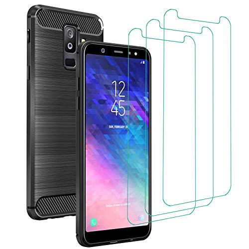 iVoler Funda para Samsung Galaxy A6+ 2018 / A6 Plus 2018 + 3 Unidades Cristal Templado, Fibra de Carbono Negro TPU Suave de Silicona [Carcasa + Vidrio Templado] Ultra Fina Caso y Protector de Pantalla