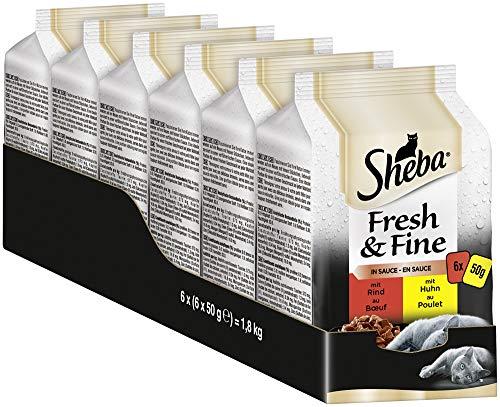 Sheba Fresh & Fine in Sauce – Nassfutter für Katzen – Für die tägliche Abwechslung im extra kleinen Portionsbeutel