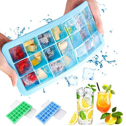 Bandeja para cubitos de hielo con tapa, 2 paquetes de bandeja para hielo con silicona de grado alimenticio sin BPA, ideal para congelador, comida para bebé, agua, whisky, cóctel y otras bebidas