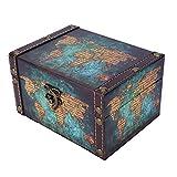 Pinsofy Organizador de Joyas, Caja de Almacenamiento de Madera, Organizador de baratijas Decorativas para Mujeres de Almacenamiento de niñas(2208A-06-Green Mapa, Azul)