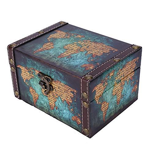 Caja de Madera Vintage, Caja de Cofre del Tesoro Retro, Organizador de joyería, Caja de colección, Accesorio fotográfico, Adornos de Escritorio, 16x12.5x9 cm(Caja de almacenaje)