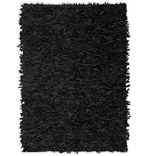 vidaXL Alfombra Shaggy Peluda de Cuero Auténtico 160x230cm Negra Decoración