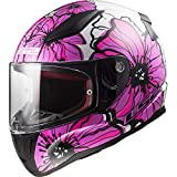 LS2 Casque moto RAPID POPPIES Rose, Blanc/Rose, XS