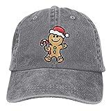 Yueha Unisex Cute Gingerbread Cartoon Classic Washed Teñido Algodón Color sólido Gorra de béisbol Talla única