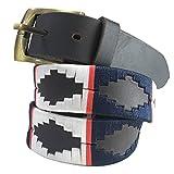 Carlos Diaz Cinturón de polo argentino de cuero marrón bordado para hombres y mujeres unisex (105 cm / 38 Inches)