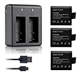 VVHOOY 3 PCS 1050mAh Rechargeable Action Camera Batteries and Dual Battery Charger Compatible with DBPOWER EX5000/AKASO EK5000 EK7000 Brave 4/ EKEN H9/ Dragon Touch Vision 3 4K Sports Action Camera