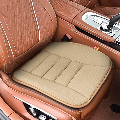 RaoRanDang Car Seat Cushion Pad for Home Use Car Driver Seat Office Chair Pain Relief Memory Foam Seat Cushion with Non Slip Bottom Seat Cushion (Khaki)