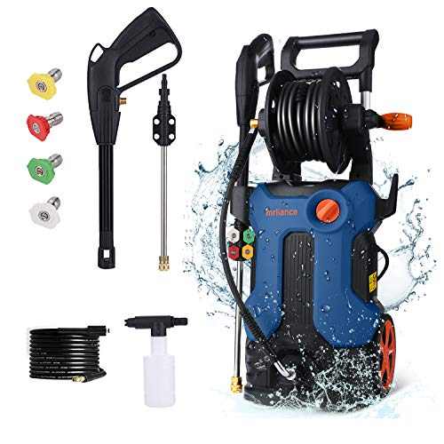 mrliance 3800psi Electric Pressure Washer 2000W 2.8GPM Power Washer Cleaner Machine with Hose Reel, 4 Adjustable Nozzles, Telescopic Rod and Soap Bottle, Blue