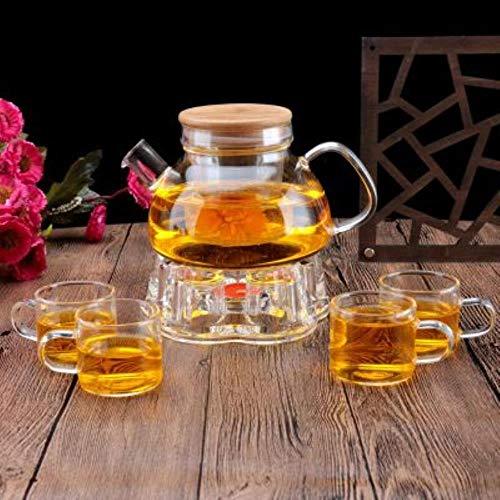 TOSISZ theepot van glas set theepot met warmer en 6 theekopjes, dubbelwandig, glas theeglazen hittebestendig
