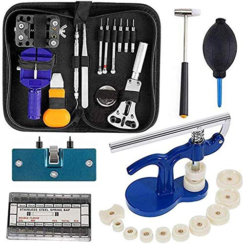 Herramientas de reparación de relojes - Set de herramientas de reloj, correa de reloj removedor de pines, reloj abrelatas de la carcasa, herramienta de prensa de reloj con troqueles de nailon (499PCS)