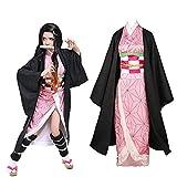 Anime Cosplay Disfraz Demon Slayer Kamado Nezuko Juego de rol Trajes con Bambú Mujeres Rosa Kimono Halloween Fiesta Carnaval Ropa (S)