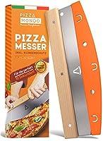 SCHNELLES SCHNEIDEN - Dank der 32cm langen Edelstahklinge (groß und lang) lässt sich die Pizza mit unserem Pizza-Cutter in unter 15 Sekunden gleichmäßig schneiden, ohne das der Pizzabelag sich dabei verschiebt. EINFACHE REINIGUNG - Der Schneider (ein...