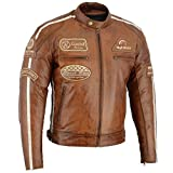 BOSmoto Herren Retro Biker Lederjacke Motorrad Jacke Race Streifen Rockerjacke Chopper, XL
