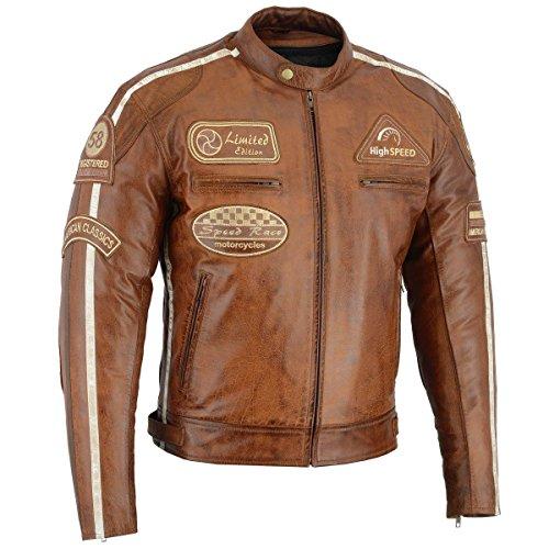 BOSmoto Herren Retro Biker Lederjacke Motorrad Jacke Race Streifen Rockerjacke Chopper, XXL