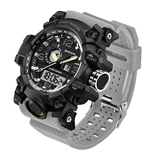 Taffstyle Herren-Armbanduhr Digital mit Silikon-Armband Chronographen Wasserdicht Stopp Alarm Flieger Piloten Uhr Sportuhr Quarz Grau