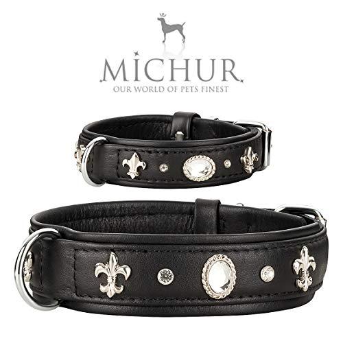 MICHUR Gala Hundehalsband Leder, Lederhalsband Hund, Halsband, Schwarz, Leder, mit Lilien,Strasssteinen und großem Kristall, in verschiedenen Größen erhältlich