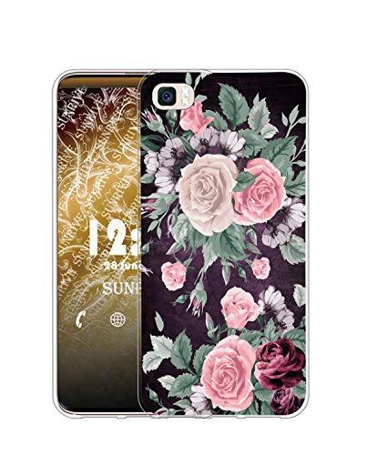 Sunrive Funda Compatible con Huawei P8 Lite (2015), Silicona Slim Fit Gel Transparente Carcasa Case Bumper de Impactos y Anti-Arañazos Espalda Cover(Q Flor Rosa)