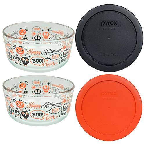 Pyrex (2) 7201 Spooky Fun Glass Bowls & 7201-PC (1) Black and (1) Pumpkin Orange Plastic Lids