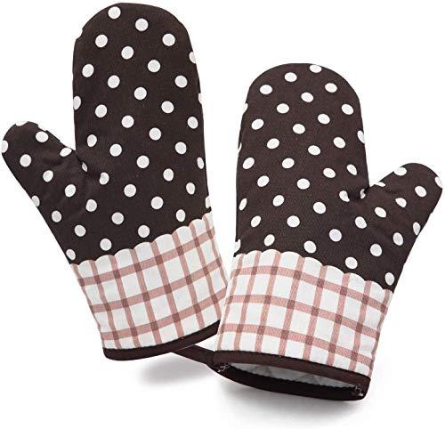 Voarge Ofenhandschuhe Baumwolle 2er Set bis zu 180 °C, Geeignet für Kochen, Backen, Grillen,Topfhandschuhe, 1 Paar, Geschenk für Frauen und Koch (Braun)