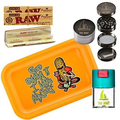 Kit para fumar tabaco de liar - Bandeja para liar Rick and Morty 27,5cm x 17,5cm + RAW Organic Connoisseur Kings Size (3 unidades) + Bote hermético antiolor + Grinder metálico THE BOAT con rascador.