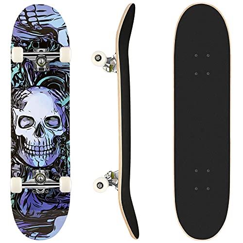 Skateboard Erwachsenes Komplettboard für Anfänger, Skateboard für Kinder ab 8 Jahre und Jugendliche, 31x8 Zoll kanadisches Ahorn, Geburtstagsgeschenk für Jungen und Mädchen(DE Stock) (Blau Lila)