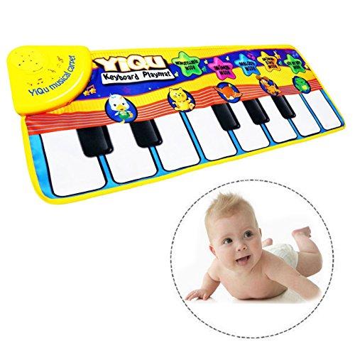 Itian Musical Alfombra Bebé Niño Pequeño Actividad Juego De Gimnasio Colchonetas,Alfombra de Música para Bebé,Bebé estera de piano de los juguetes toque musical canto teclado estera de alfombra