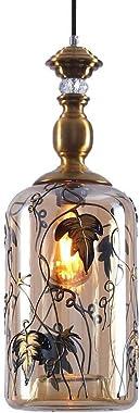 Chandelier American Village Retro Hanging Lamps Single Head Amber Transparent Glass Shadow Iron Art Chandelier Modern Minimal
