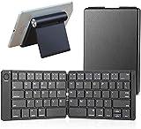 Gndy Teclado Bluetooth plegable en tamaño de bolsillo portátil compatible con iOS Android Windows Smartphone Tablet, soporte ajustable para tableta y teléfono móvil, teclado con soporte negro