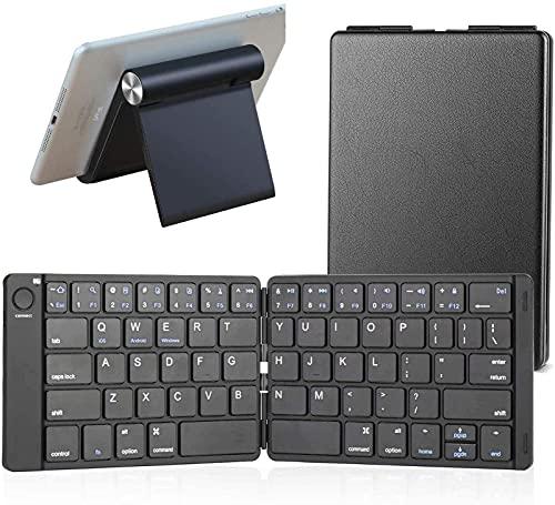 Gndy Teclado Bluetooth Plegable En Tamaño De Bolsillo Portátil Compatible con iOS, Android, Teléfono Inteligente, Tableta, Soporte Ajustable para Tableta Y Teléfono Móvil,Keyboard with Black Stand