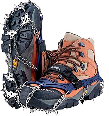 Uelfbaby Upgraded 19 Spikes Crampons Ice Snow Grips Traction Cleats System Safe Protect for Walking, Jogging, or Hiking on Snow and Ice (Fit S/M/L/XL/XXL Shoes/Boots) (Blue, X-Large)