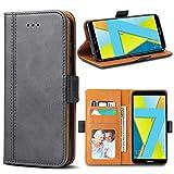 Bozon Honor 7X Hülle, Leder Tasche Handyhülle für Huawei Honor 7X Flip Wallet Schutzhülle mit Ständer und Kartenfächer/Magnetverschluss (Dunkel-Grau)