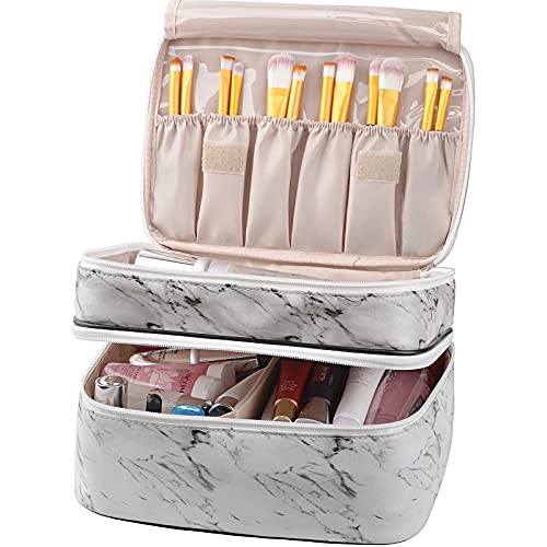 MKPCW makeup bag Double-layer cosmetic bag with brush bag and divider (White marble)