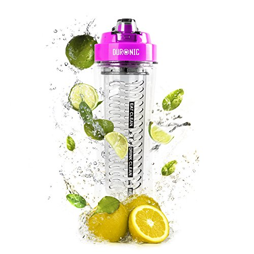 Duronic 600CR/PK Clear 600ml BPA Free Infuser Water Bottle with Pink...