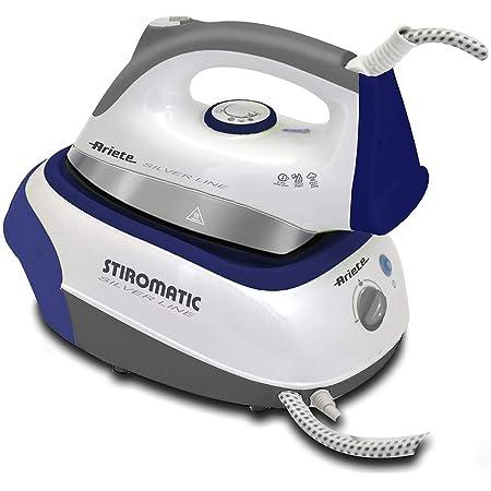 Ariete stiromatic silver line 5579 - Centro de planchado de 2200 W, 3.5 bar, autonomía ilimitada, suela cerámica, vapor vertical, depósito 0.9 l, blanco y azul
